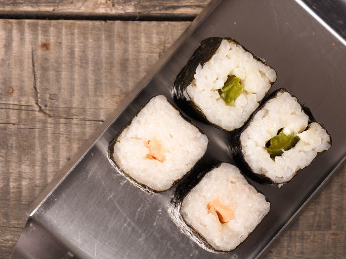 Hoso maki sushi Asian  Delicious Food Hoso Maki Steel Sushi Tasty Top View View From Above Wooden Table