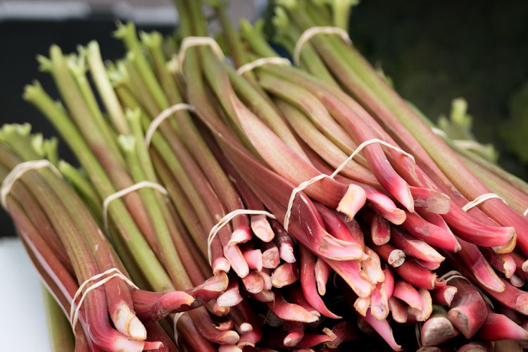 Close up of rhubarb for sale