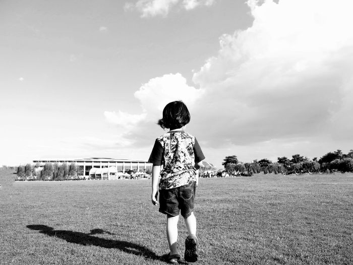 Kidsphotography Kids Kids Playing Kids Being Kids Portraiture; B/W Photography Blackandwhite Cloud - Sky Sky One Person People Day Outdoors Standing Young Adult
