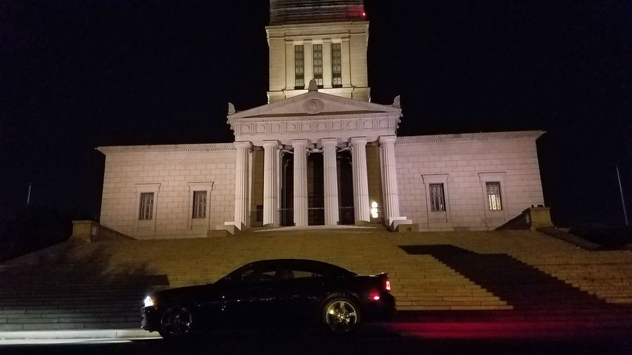 Architecture Dodge Charger George Washington Masonic Temple Historical Building Illuminated Night Nightphotography No People Outdoors
