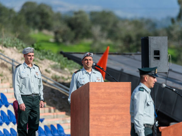 Mishmar David, Israel, Februar 21, 2018 : Officers of the IDF stand still while performing the anthem of Israel Atikva at the formation in Engineering Corps Fallen Memorial Monument in Mishmar David, Israel Engineering Corps Fallen Memorial Monument Event Formation Officer Patriotism Soldier Soldiers Standing Uniform Warrior Armed Army Ceremony Combat Day Education Idf Infantry Israel Military Parade People person Professional Training