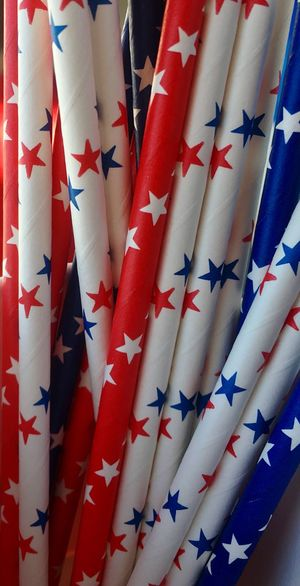 Red white and blue paper straws Earth Friendly Paper Straw Full Frame Pattern No People Textile Backgrounds Close-up Indoors  Red Repetition Large Group Of Objects Still Life Striped Patriotism Multi Colored