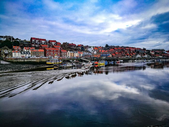 Harbour River View Boats Water North Yorkshire Coast Whitby Whitby Harbour Sky Reflections Sky And Clouds Blue Sky