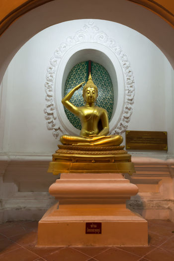 Art And Craft Day Gold Colored Human Representation Indoors  Low Angle View No People Place Of Worship Religion Sculpture Spirituality Statue Thailand Nakhon Pathom Old Buddha Statue Buddha Old Buddha Site Down Buddha Yellow Close-up Gold Store Buddha Standing Travel Large Group Of People