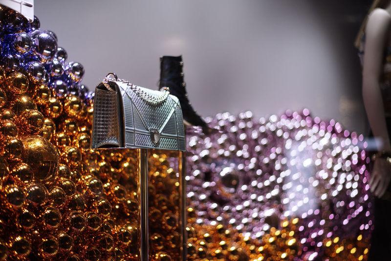 Couture, Fashionable, Fashion, Purse, Christmas Balls, Metallic, Window Shopping, Orange, Purple, Reflecting Grey, Black & White.
