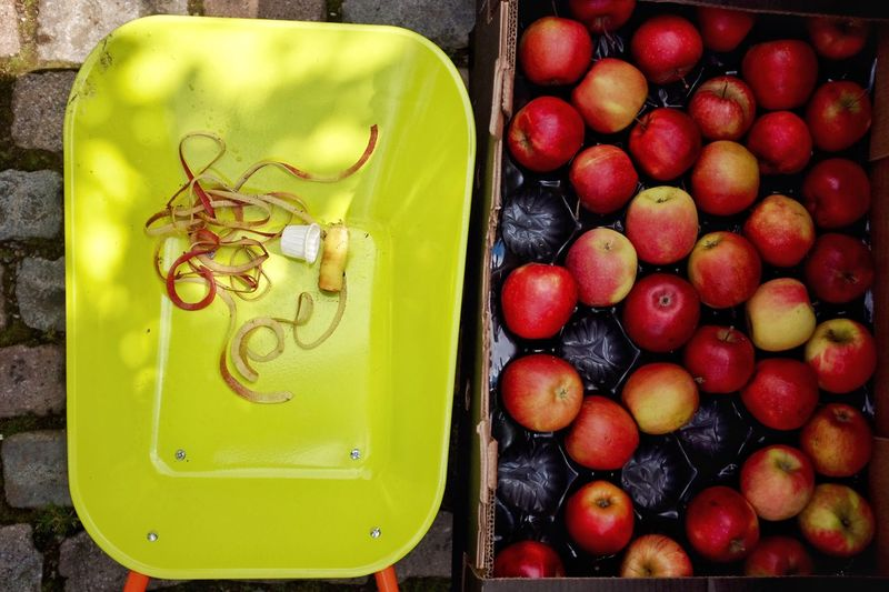 Directly Above Shot Of Apples And Peel In Container On Walkway