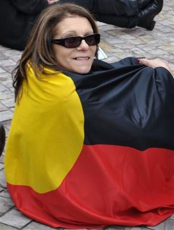Here Belongs To Me Aboriginal Land Aboriginal Pride Naidoc Week Culture And Tradition Standing Tall Proud To Be Aboriginal Strong Culture Red Yellow Black Flag Sunglasses ThatsMe Hanging Out Smiling Happy Sitting Bricks Circle