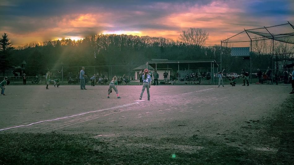 Softball Sky Playing Soccer Playing Field Leisure Activity Outdoors Child Sunset