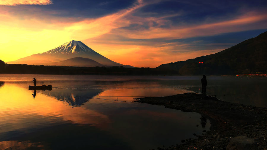 Scenic View Of Lake And Mount Fuji Against Sky During Sunset