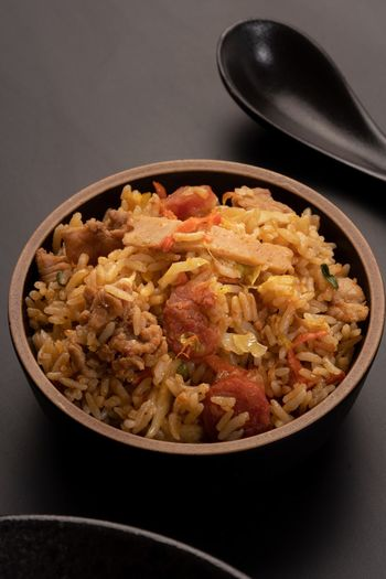 Asian Food Culture Asian Foods Chinese Food Lean Meat Meats Minced Meat Rice - Food Staple Fried Fried Rice Food And Drink Food Freshness Bowl Indoors  Ready-to-eat Still Life Healthy Eating Wellbeing No People Meal Meat Kitchen Utensil Close-up Serving Size Table High Angle View