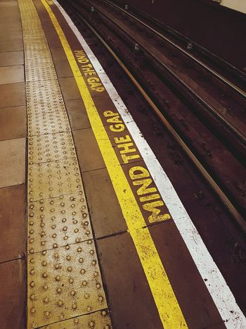 Yellow Transportation Rail Transportation High Angle View Travel Tube Underground No People London Mind The Gap