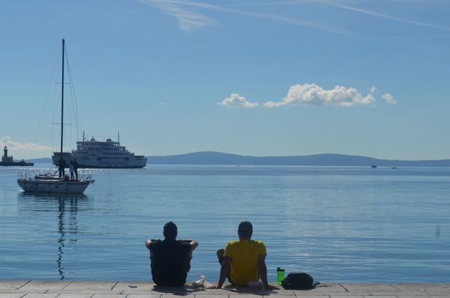 Sea Nautical Vessel Water Two People Outdoors Sky Tourism Tourist Vacation Relaxing Mediterranean  Summer Traveling Summer Vacation Croatia People