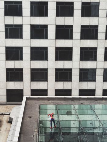 Built Structure Architecture Building Exterior Real People Window Building Day City Men Full Length Outdoors People Lifestyles Glass - Material High Angle View
