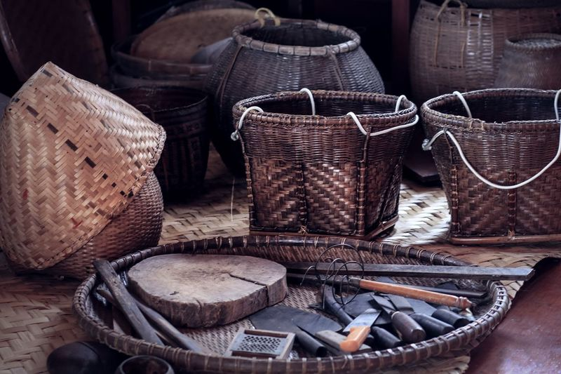 High angle view of knives in basket at market stall