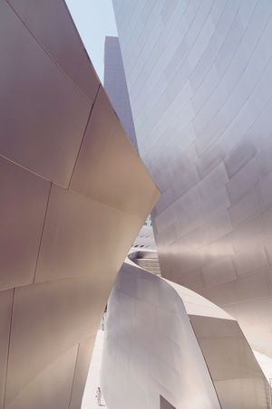 EyeEm Selects Architecture Built Structure Modern Building Exterior No People Day Low Angle View Void Space Metal Sheetmetal Exterior Modern Frank Gehry Building Disney Concert Hall, City Outdoors Close-up Sky