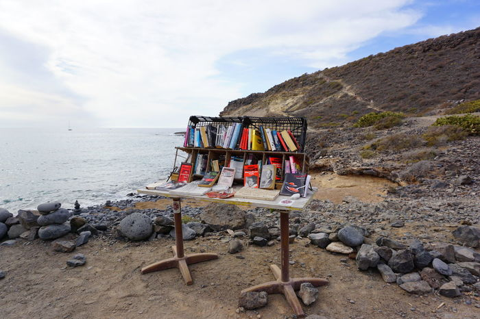 Bookstore LaCaleta Ocean View Tenerife España Beach Beauty In Nature Cloud - Sky Day Mountain Nature No People Ocean Outdoors Rock - Object Sand Scenics Sea Sky Tenerife Tenerife Island Teneriffa Tranquil Scene Tranquility Water