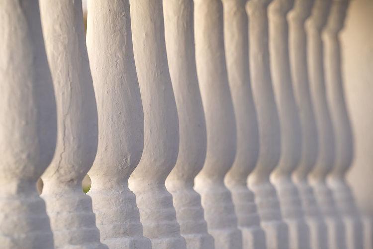 Full frame shot of white balustrades