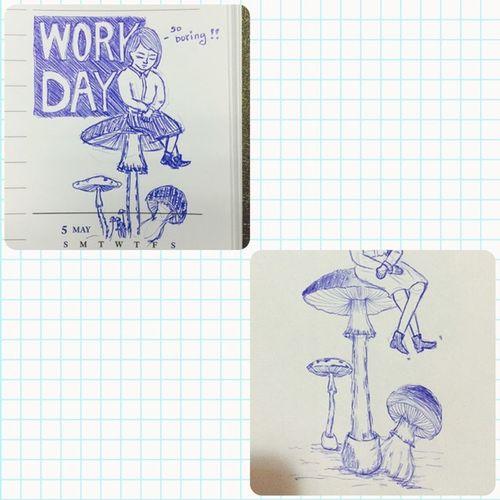 Draw Painting Girl Mushrooms Ballpoint Pen Close Eyes Boring Day Working Take A Break Art