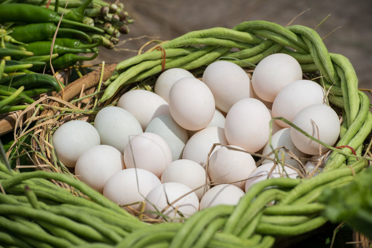 Close-Up Of Eggs And Green Vegetables