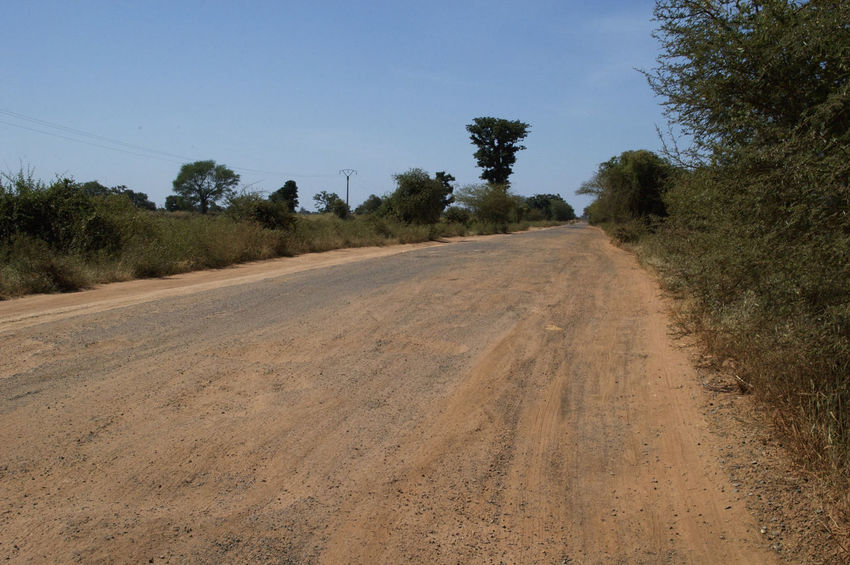 Road from Diouloulou to Kafountine in the Casamance, Senegal Diouloulou Kafountine Niafarang Niafourang Niafrang Pothole West Africa Africa African Road Casamance Clear Sky Day Outdoors Potholes Road Senegal The Way Forward