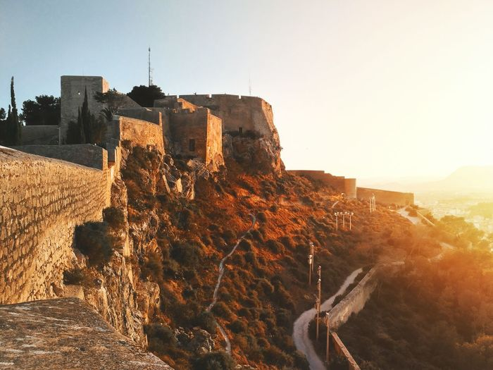 View of historic fort at sunrise