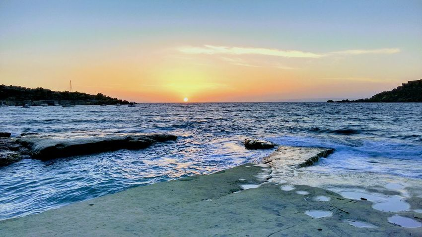 Sunset Sea And Sky Summer Waves No People Malta Sunset_collection Nature Evening Sky