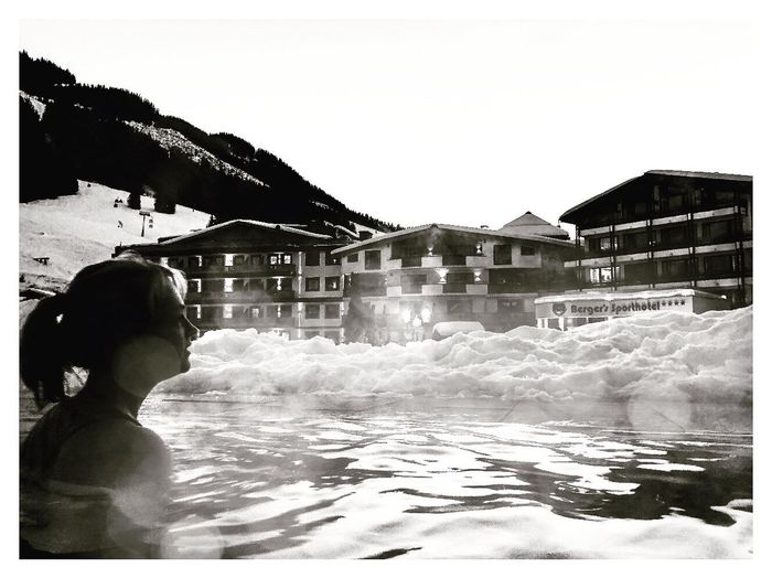 Fire & Ice Silhouette Ski Slopes Snow Steam Travel Photography Travel Black And White Bnw Shot On IPhone ShotOnIphone Mobilephotography IPhoneography IPhone Swimming Pool Hot Hotel Post Hotel One Person Architecture Real People Water Outdoors Built Structure