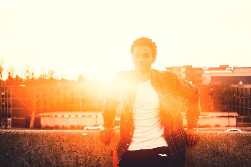 Passion flares from within 🔥🙌🏼 Standing Sunlight Sunbeam Three Quarter Length Railing Clear Sky Gloweup Casual Clothing Lens Flare Relaxation Sunny Summer Young Adult Sky Bright