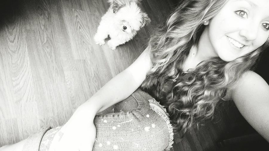 》Madelyn Roberson《 Me My Dog Just Hanging Out Black & White Inside Home
