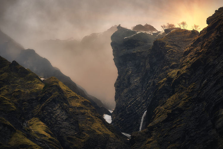 Last Sun Alps Beauty In Nature Cloud - Sky Cold Temperature Day France Mountain Mountain Range Nature No People Outdoors Peak Scenery Scenics Sky Sun Tranquility Waterfall