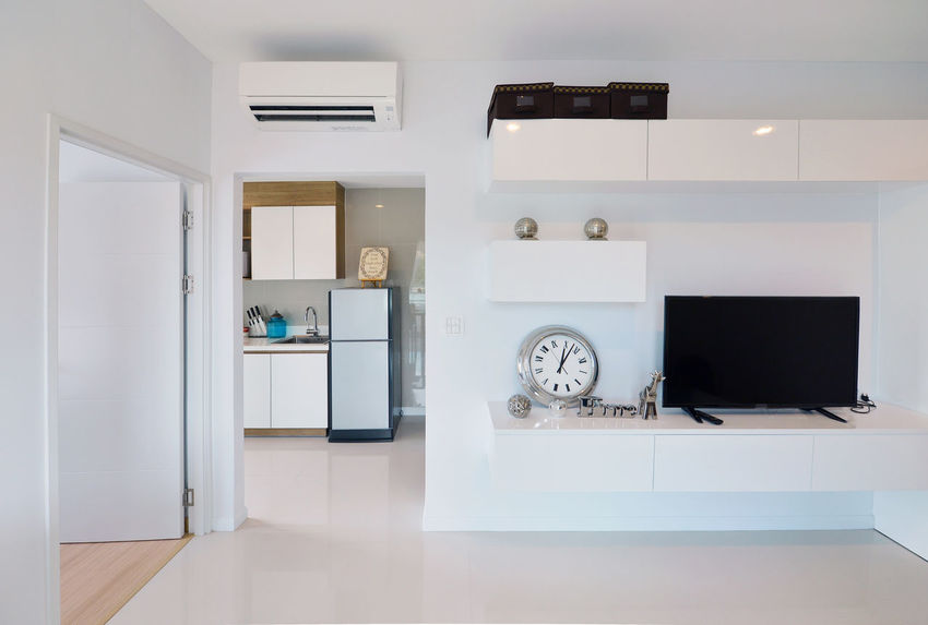 white luxury modern living interior and decoration, interior design Cabinet Clock Day Domestic Kitchen Domestic Life Domestic Room Flat Screen Home Interior Home Showcase Interior Indoors  Kitchen Modern No People Technology Washing Machine