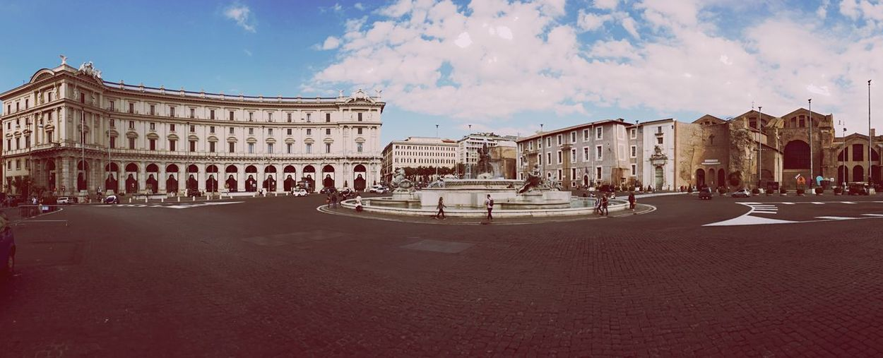Panoramic Shot Of Piazza Della Repubblica Against Sky