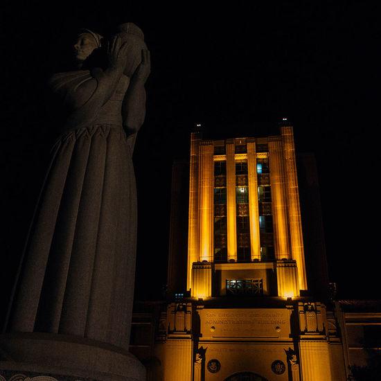 San Diego Art Deco Nightphotography Night Lights Statue Sandiegophotos Sandiego Downtown California Dangerisgood