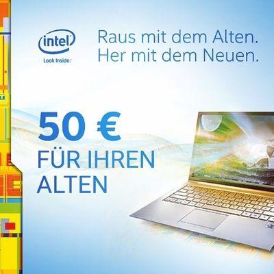 """Zusammen mit Intel haben wir derzeit eine Aktion, bei der ihr 50 Euro sparen könnt. Dazu müsst ihr uns nur ein Foto eures """"alten"""" auf unserer Aktionsseite hochladen und erhaltet anschließend einen Gutscheincode per E-Mail von uns. Diesen könnt ihr für alle lagernden Notebooks, Ultrabooks, Tablets und PCs mit i3, i5 und i7 Intel-Prozessor ab 499 Euro einlösen. Die Aktion geht noch bis zum 14.09.2014. Weitere Infos bekommt ihr auf der Aktionsseite: http://www.notebooksbilliger.de/trade+intel"""