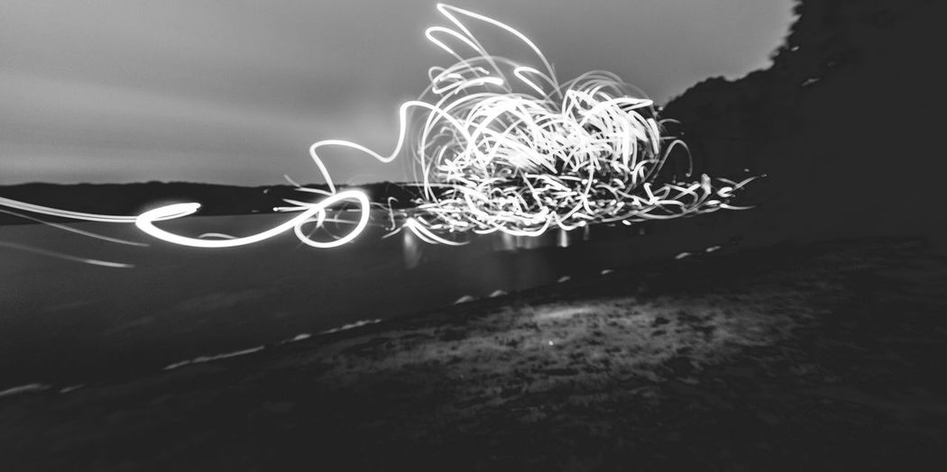 B&W long exposure by the lake Close-up Illuminated Lake Long Exposure Low Angle View Motion Nature Night No People Outdoors Sky