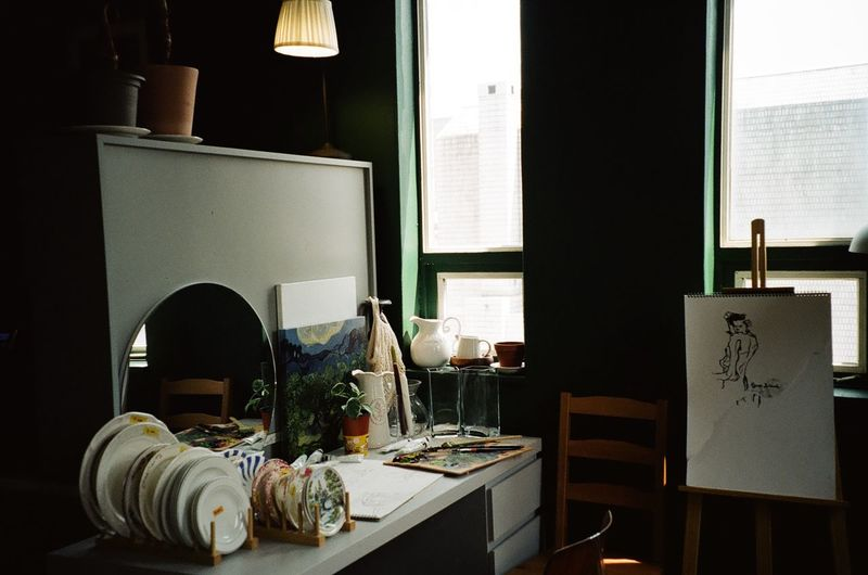Interior of art studio