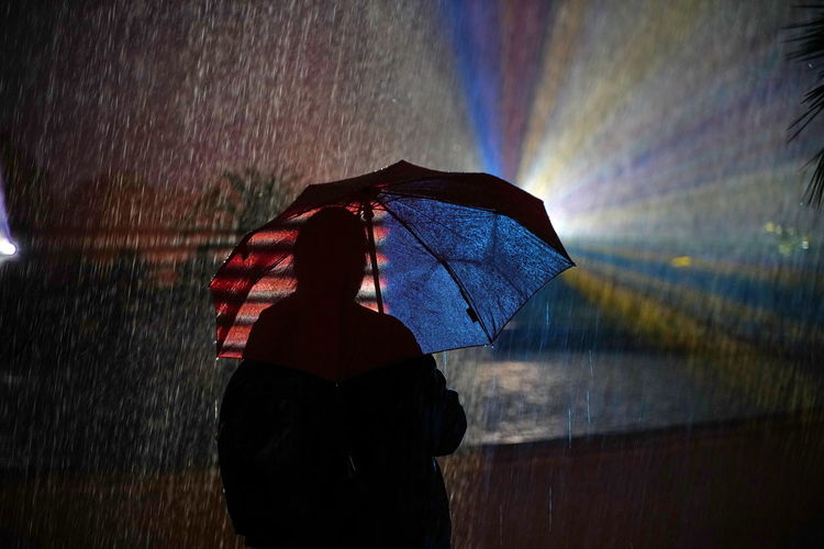 Rear view of man holding umbrella during rainy season