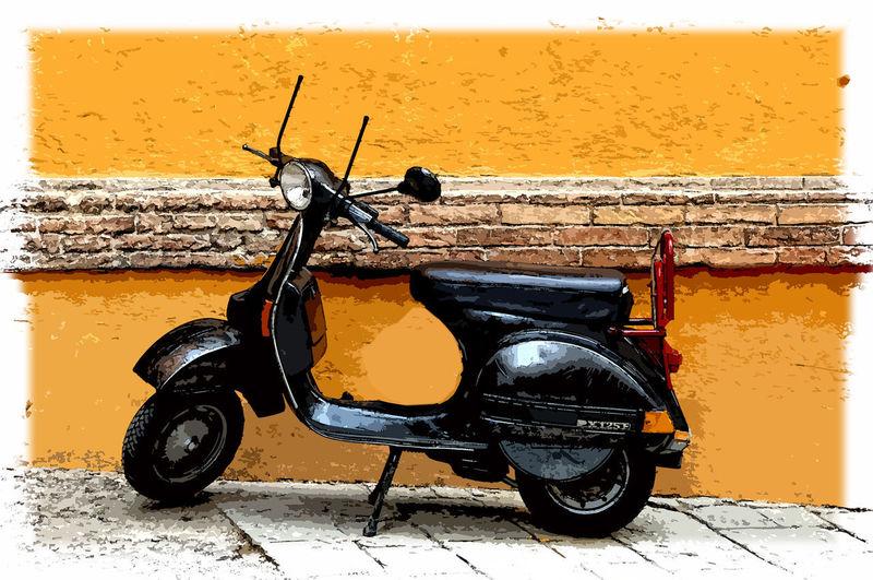 Black Vespa Old Vespa Motorcycle Motor Vehicle Siena, Italy Siena Tuscany Vespa In Siena Black Vespa Orange Color Orange Wall  EyeEmNewHere