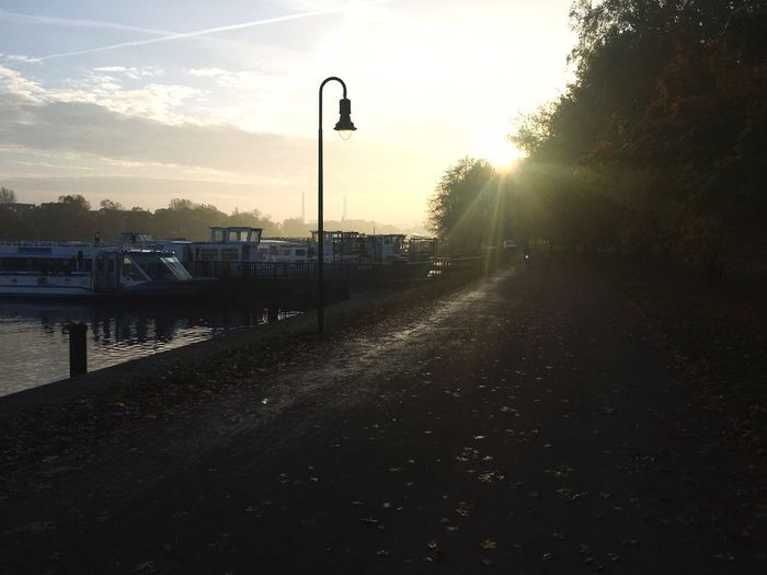 Transportation Tree The Way Forward Sky Street Light Water Sunset Outdoors Nature No People Day Beauty In Nature Treptow Hafen Spree Port Autumn