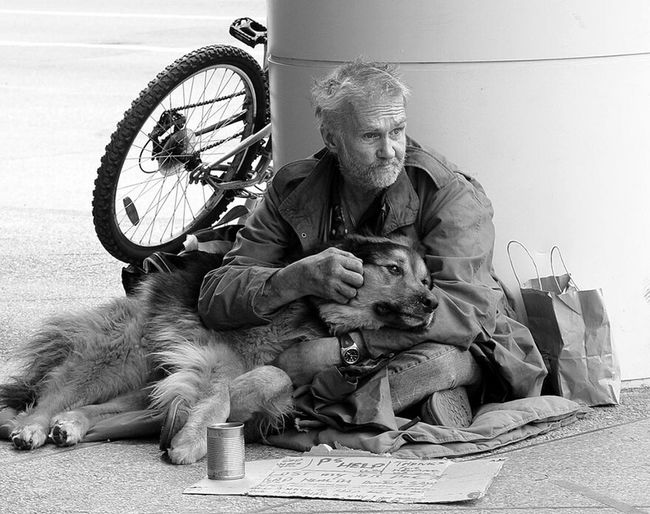 Streetphotography Man People People Of EyeEm Doglover With Dog Monochrome
