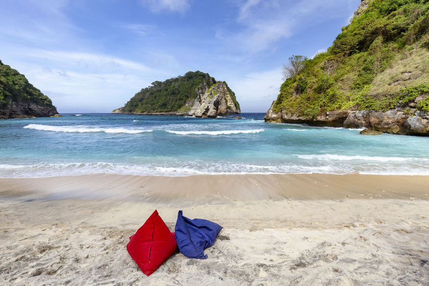 Two bean bag chairs on Atuh Beach in Nusa Penida, Indonesia. ASIA Atuh Beach Bali Diving INDONESIA Snorkeling Sunny Travel Aquamarine Atuh Balinese Beach Blue Destination Diamond Klungkung Nusa Penida Paradise Pejukutan Relax Summer Swim Tourism Tropical White Sand