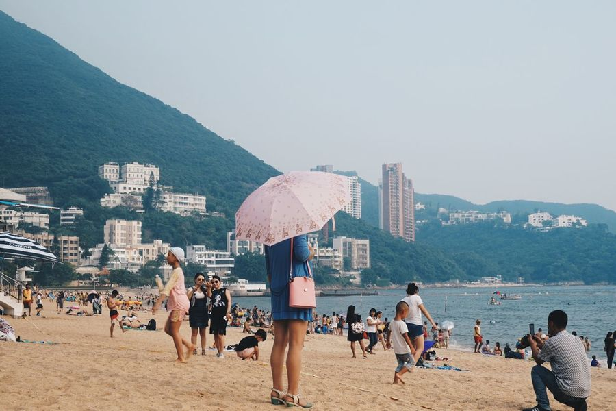 ASIA Beach Clear Sky Day Hong Kong Lifestyles Outdoors People Photography Play Real People Repulse Bay Sand Sea Sky Summer Umbrella Vacations VSCO Water Woman