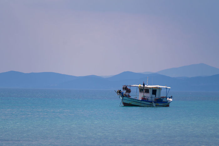 Boat Sea Greece Losing Sense of Time Vacation Get Lost and Relax Fishing Sithonia Halkidiki