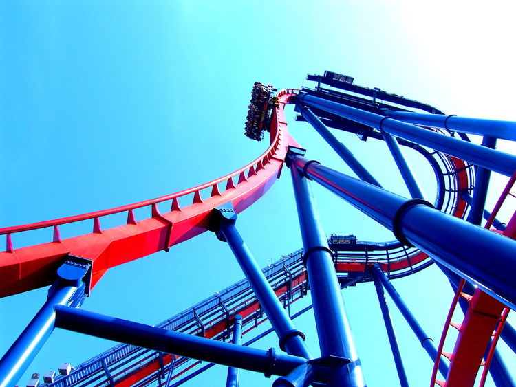 Busch Gardens, Florida (2012) Sheikra Busch Gardens Rollercoaster Low Angle View Amusement Park Arts Culture And Entertainment Blue Red And Blue Metal Structure Facing Fears EyeEmNewHere Fun Thrill Thrill Rides Thrillseeker Thrilling Moment Outdoors Fun Ride