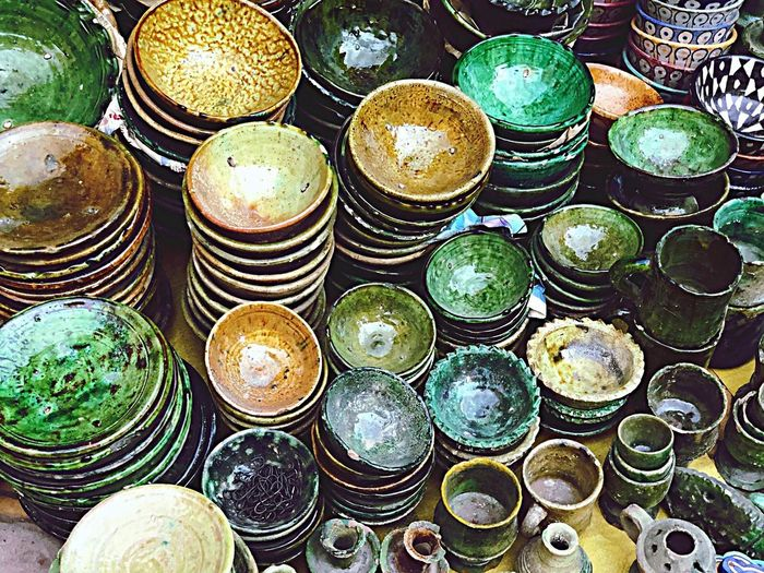 Africa Pottery Art Marocco Colors Arts And Crafts Art EyeAmNewHere Full Frame Large Group Of Objects Backgrounds No People Abundance High Angle View Arrangement Geometric Shape