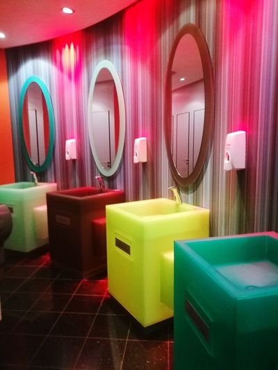 colorful hand wash basins at Cork International Hotel.... Neon Multi Colored Home Showcase Interior