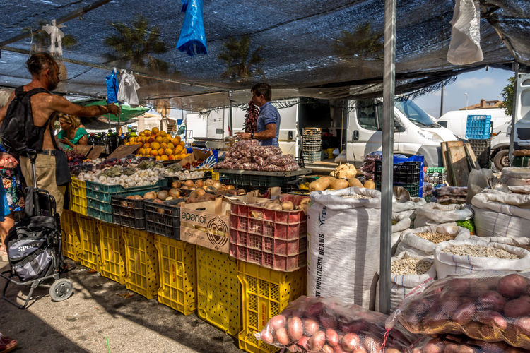 Food Food And Drink Retail  Choice Market Market Stall Freshness For Sale Real People Business Large Group Of Objects Small Business Day One Person Healthy Eating Incidental People Retail Display Sale Outdoors Buying Consumerism Roquetas De Mar Street Market SPAIN Almería