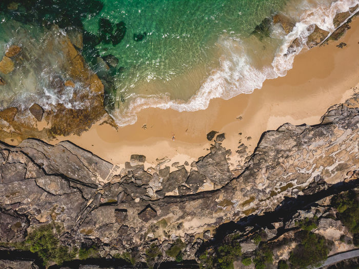 Moments of Happiness: Aerial drone shots of Australia's wonderful coasts and beaches. Moments Of Happiness Sea Water Nature Outdoors Day Drone  Drone Photography Aerial Dji DJI Mavic Air Hiking Adventures Discover Places Coast Coastal Ocean Power In Nature Land Rock Formation Surf Beach One Person From Above  Sunlight