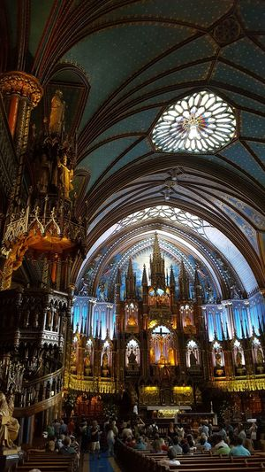 Basillica Notre Dame in Montreal Ceiling Religion Place Of Worship Architecture Spirituality Notre-Dame Canada Quebec Montréal Catholic Arcitecture