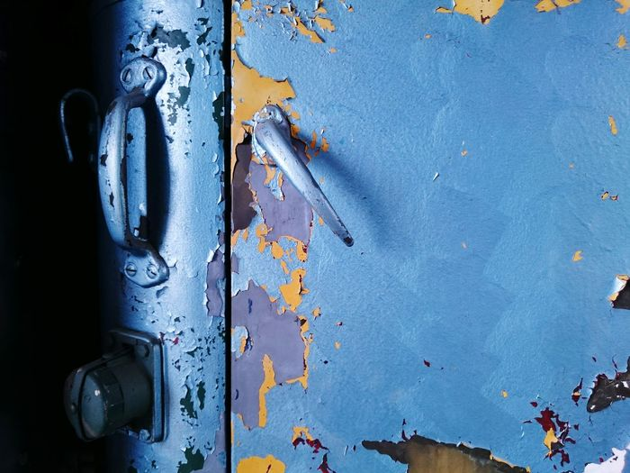 Close-up Blue No People Full Frame Backgrounds Door Flaked Flaked Paint Car Abondened Paint Rusty Weathered Background